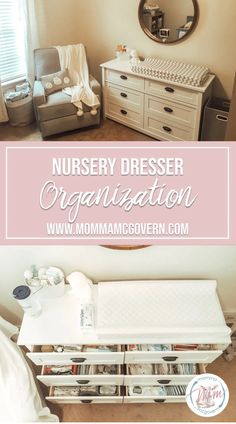 My nursery dresser doubles as a changing table. Hopefully these nursery dresser organization tips give you the convenience and easy access for baby! Baby Room Boy, Baby Nursery Diy, Nursery Room, Girl Nursery, Nursery Decor, Babies Nursery, Nursery Ideas, Baby Bedroom, Baby Bedding