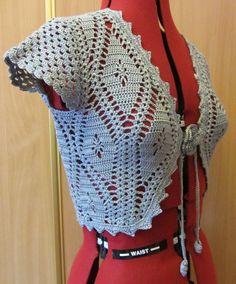 Crochet gray cottom lace bolero jacket, cute crochet bolero with short sleeves Cute Crochet, Beautiful Crochet, Crochet Lace, Lace Bolero Jacket, Crochet Bolero Pattern, Lace Umbrella, Waffle Stitch, Crochet Beanie Hat, Coral Lace