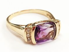 Amethyst - February Birthstone and Diamond Ring Set in 14k Yellow Gold Size 9.25 by LadyLibertyGold on Etsy https://www.etsy.com/listing/384698682/amethyst-february-birthstone-and-diamond