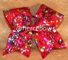 Red Metallic Splatter Cheer Bow on Etsy, $10.00
