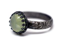 Made to Order Prehnite Renaissance Ring Material: Sterling Silver Crown & Band Finish: Partially Oxidized Gemstone: 10mm Round Natural Yellow-Green