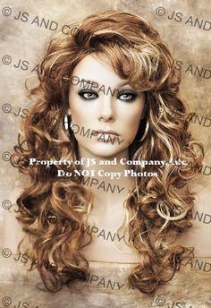 Full Long Curly Teased top Blonde Auburn Mix  WIG TRCA RS29 #Cali #FullWigbeautiful!  $45