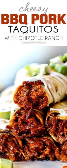 Cheesy Baked BBQ Pork Taquitos - these are SO addicting! My entire family loved them and is already begging me to make them again! and don't skip the Chipotle Ranch - its incredible!