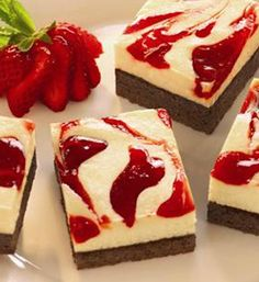 Strawberry Cheesecake Brownies - Get the great taste of yummy strawberry cheesecake on top of a chewy, chocolatey brownie for an easy, crowd-pleasing treat.
