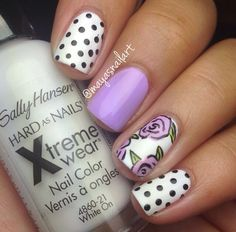 Skittle mani , polka dots, purple, roses nails! Nail art by me :)
