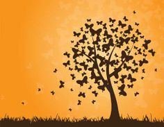 abstract butterflies silhouettes clip art vector with tree