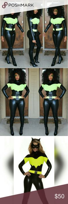 Fashion Nova Dark Knight costume I won 3 costume contests with this costume! Dark Knight jumpsuit from Fashion Nova. Purchased for $75. It is a light material, very stretchy and form fitting. Comes with the utility belt. Size small. In excellent condition. Fashion Nova Other