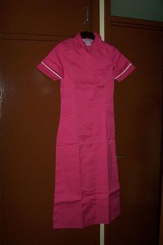 Alexandra Hot Pink with White Trim Nurse Uniform Dress Overall UK 6 / 8 HP100