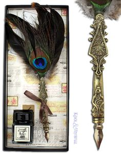 Gorgeous Italian PEACOCK Feather QUILL Pen and Ink Set with Ink Bottle