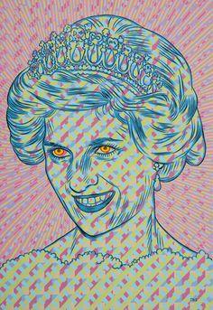 Princess Diana, by Conrad Botes South African Art, Smart Art, Make Your Mark, Printmaking, Pop Art, Art Drawings, Fine Art, Princess Diana, Creative
