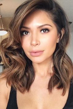 Caramel Balayage Highlights Haircut Bangs Hair 2017
