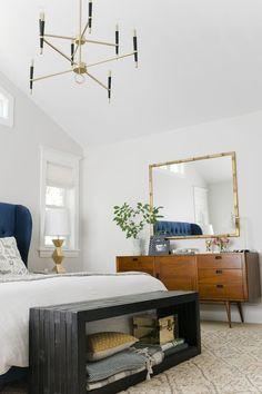 white bedroom, luxe elements