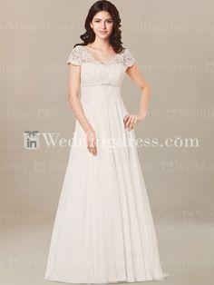 Plus Size Wedding Dress with Short Sleeves. Re-pin if you like. Via Inweddingdress.com #weddingdress #plussize