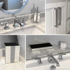 Glam Master Bathroom Remodel in Stoneham | McGuire + Co. Kitchen & Bath Wakefield, MA Gray And White Bathroom, Grey And White, Bathroom Ideas, Marble Showers, Jacuzzi Tub, Custom Shower, Wakefield, Quartz Countertops, Tile Design