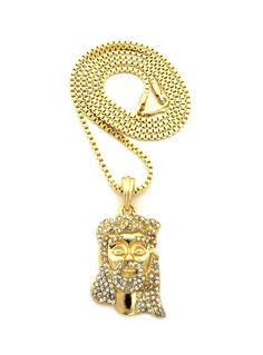 Diamond Cz Beard Jesus Pendant w/ Chain Gold Clear - Bling Jewelz
