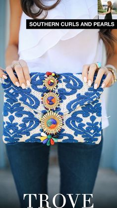 one shoulder ruffle top// AG jeans beaded embroidered clutch . Mode Style, Style Me, Boho, Fashion Bags, Spring Summer Fashion, Passion For Fashion, Dress To Impress, Fashion Accessories, Cute Outfits
