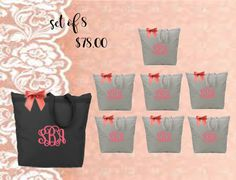 set of 8 bridal totes  at checkout please list in the notes to seller bag color* font* vinyl color*initials in FLM order    •Zippered across top of tote. •Durable webbing reinforced top. •Color matched zipper and pull. •28 color-matched handles. •Measures 18 x 16 x 4.5