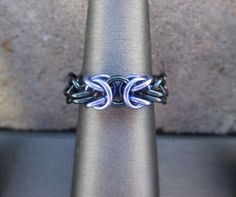 Chainmaille Jewelry Purple and Black Ring Edgy by BlackCatLinks, $15.00