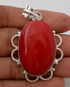 Pleasing Simulated Coral 925 Silver Plated Pendant Anniversary Gift For Her F147 #valueforbucks #Pendant