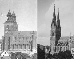 Tornen före och efter den zetterwallska ombyggnaden på 1880-talet