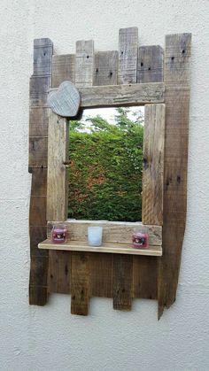 Entryway mirror - Large handmade rustic reclaimed wood mirror with shelf. Pallet Mirror, Reclaimed Wood Mirror, Reclaimed Wood Projects, Diy Pallet Projects, Pallet Ideas, Diy Pallet Furniture, Handmade Furniture, Rustic Furniture, Furniture Market