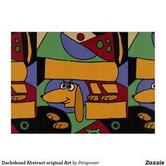 Dachshund Abstract original Art Cutting Board
