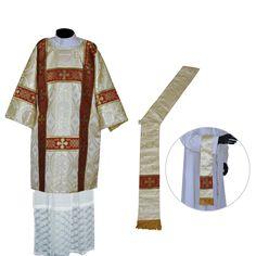 White Gold Deacon Dalmatic Vestment & Mass Set  - Metallic White Gold - Deacon Dalmatic, Deacon Stole & Maniple  Set