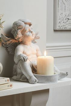 Pillar Candle Holders, Pillar Candles, Bride Of Christ, Wooden Statues, Cherub, Candle Making, Creative Art, Cookies Et Biscuits, Great Gifts