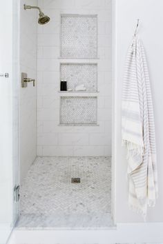 28 Inspirational Walk in Shower Tile Ideas for a Joyful Showering Walk in shower with triple stacked shower niches and marble herringbone pattern floor tiles. 10 Ideas About Walk-in Shower With Seat & Without Seat [Elderly Friendly] Tags: walk in shower w Bathroom Interior, Marble Showers, Shower Remodel, Bathroom Flooring, Shower Niche, Shower Floor Tile, Shower Floor, Master Bathroom Decor, Small Bathroom