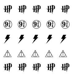 Harry Potter Icons set includes: 10 Harry Potter HP Initials 5 Train Platform 9 3/4 5 Lightning Bolt Scars 5 Deathly Hallows Symbol Total of