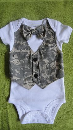 Baby boy military army onsie bow tie  outfit vest photo by BDUSTY