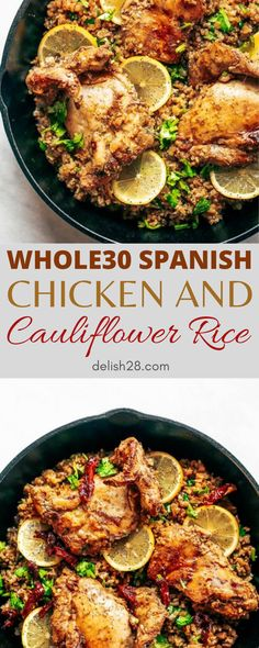 WHOLE30 SPANISH CHICKEN AND CAULIFLOWER RICE Spanish Cauliflower Rice, Chicken Cauliflower, Lemon Chicken, How To Cook Rice, How To Cook Chicken, Easy Meal Prep, Easy Meals, Cajun Shrimp And Grits, Spanish Chicken