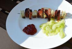Polish shashlik made of silesian sausage, smoked bacon and onion. Worth trying!  Check out the recipe: http://cooking-the-world.com/blog/2014/05/11/shashlik-polish-style/
