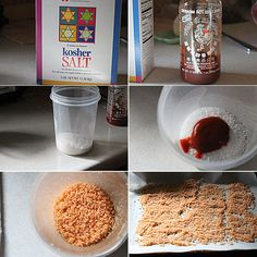 How to make Sriracha salt by simplecomfortfood: This salt is so good, and really easy to make. It is not spicy as is the salt, but it adds just this slight heat and vinegar to the salt, that makes it almost as addicting to the condiment itself. #Salt #Sriracha #Easy