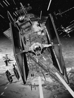 Star Wars Art by Chris Skinner — X-Wing, TIE Fighter, and Millennium Falcon — GeekTyrant