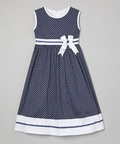 Loving this Blue Polka Dot Sash A-Line Dress - Toddler & Girls on #zulily! #zulilyfinds
