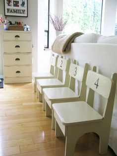 love the little numbered chairs