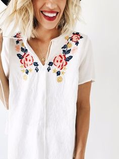 White Embroidered Summer Top | ROOLEE