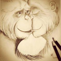 Desenho casal de primatas. Por Jéssica Ramos.