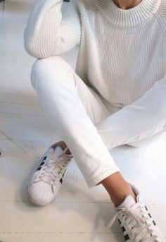 all white + addidas