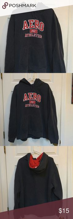 Aeropostale Blue and Red Hooded Pullover Blue hooded pullover. Hood is red inside. Size XL. Made from 80% cotton and 20% polyester. In good wearable condition. Aeropostale Tops Sweatshirts & Hoodies