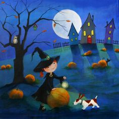 """""""Ulla and The Pumpkin Field"""" by © Iwona Lifsches, 2015 Halloween Scene, Halloween Ii, Vintage Halloween, Witch Art, Naive Art, Whimsical Art, Painting For Kids, Graphic Illustration, Folk Art"""