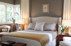 bedrooms - Benjamin Moore - Sparrow - Williams-Sonoma Home Humphrey Bed warm gray walls ivory silk drapes gray silk trim lilac silk bedding lilac Greek key pillow mustard yellow cashmere throw