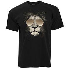 6e86eff5e53d Lion Wearing Aviator Sunglasses High Quality Photo Image Mens T-Shirt:  Amazon.co.uk: Clothing