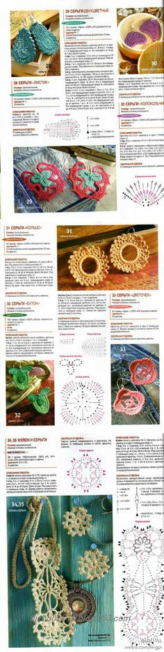 earring patterns - foreign language site has crochet diagrams and pictures