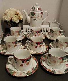 Excited to share the latest addition to my #etsy shop: Red Hat Tea Party, 18 Piece Coffee or Tea Set 8 Cups, 8 Saucers, Tea Pot with Lid, Fairfield Magnolia, Magnolia Flowers, Cranberry, Green http://etsy.me/2CFMOcv #housewares #birthday #white #thanksgiving #red #coff