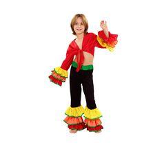 El disfraz de rumbero para niño, incluye Pantalón con volantes y camisa con nudo en DisfracesMimo.com