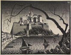 Escher, M.C. (1898-1972). Citadel van Calvi, Corsica. Woodcut