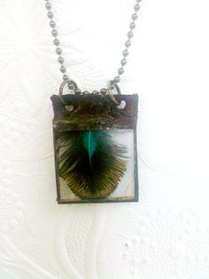 Peacock Feather Necklace Soldered Glass Feather by Mystarrrs
