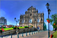 https://flic.kr/p/5q66n8 | The Ruins of St. Paul (HDR) | The Ruins of St. Paul's (Portuguese: Ruínas de São Paulo) refer to the façade of what was originally the Cathedral of St. Paul, a 17th century Portuguese cathedral in Macau dedicated to Saint Paul the Apostle. Today, the ruins are one of Macau's most famous landmarks. In 2005, the Ruins of St. Paul were officially enlisted as part of the UNESCO World Heritage Site Historic Centre of Macau.  Built from 1582 to 1602 by the Jesuits, the…